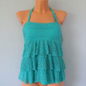 Island Escape Turquoise Crochet Ruffle Tankini Top